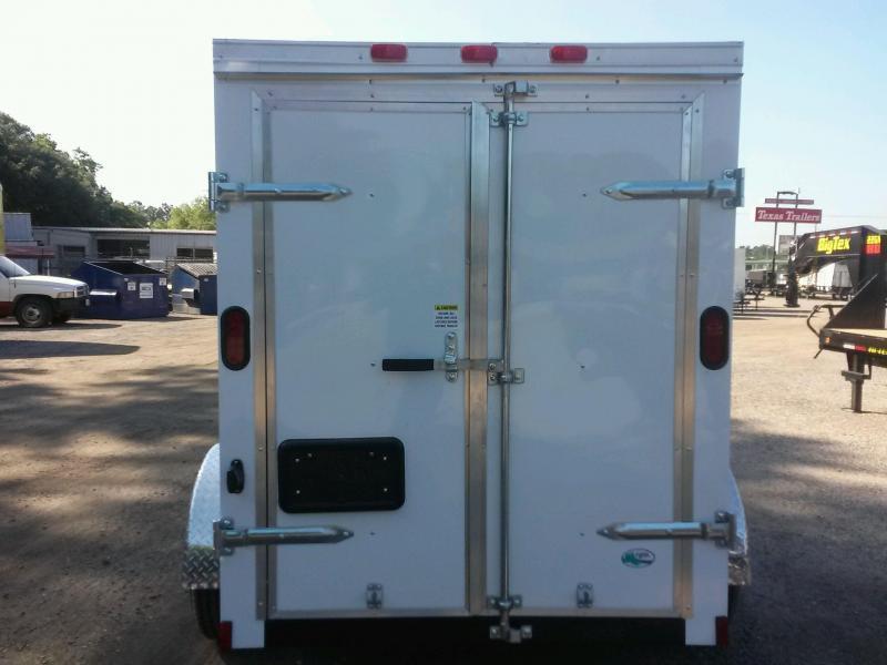 GANS58SA CARGO MATE 5 X 8 ENCLOSED CARGO TRAILER W/ DOUBLE REAR DOORS AND SIDE DOOR