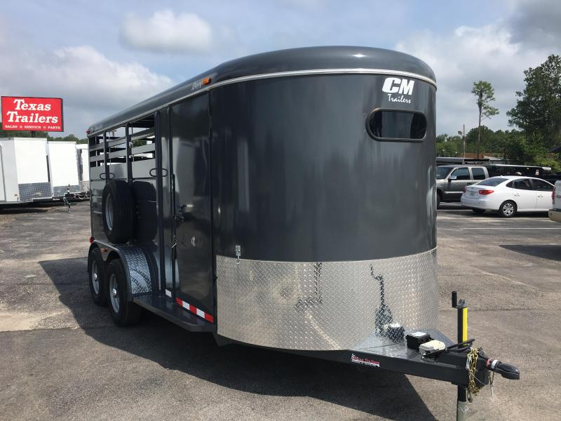 "CMS6740-17 CM 6'8"" X 17' DURANGO (3)-HORSE 6'6"" TALL TRAILER.  SHOWN WITH OPTIONAL SPARE TIRE."