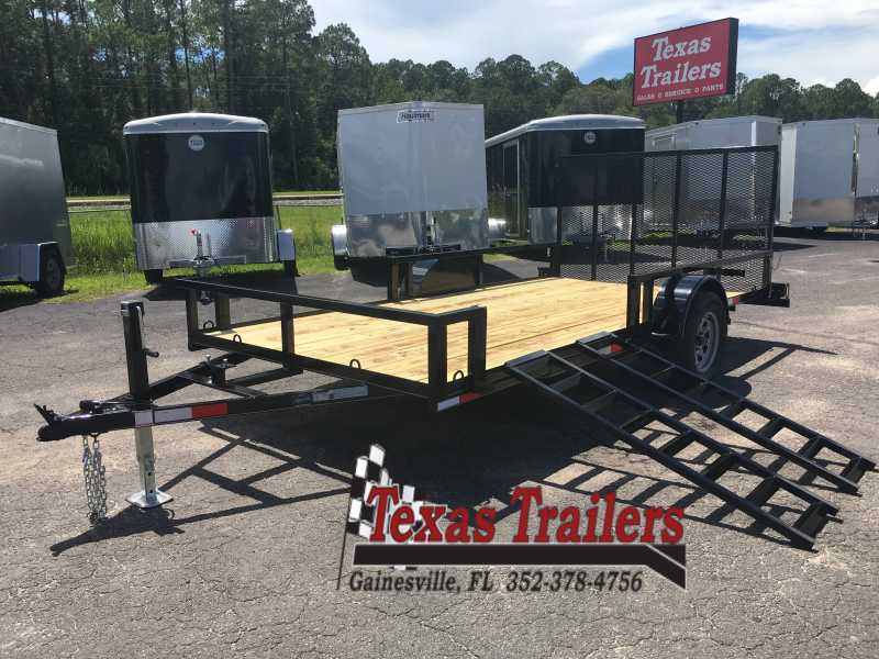 "UT61435 TEXAS TRAILERS 6'10""X14' UTILITY TRAILER W/ SIDE LOAD RAMPS"