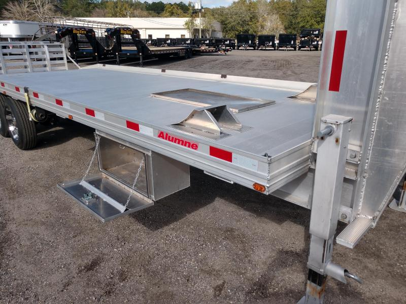 2013 Alumne,  This is a extremely nice light weight Aluminum Gooseneck trailer, with Electric over hydraulic brakes, Adjustable Air ride suspension with on board pump, heavy duty folding ramp, car bolt on wheel chocks,  Flatbed Trailer