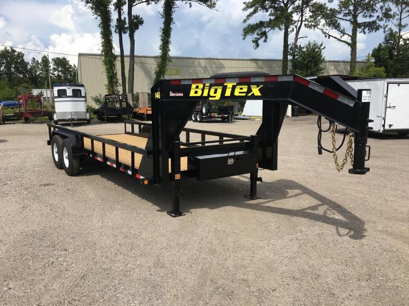 14GP-20 BIG TEX 20' GOOSENECK TANDEM AXLE EQUIPMENT TRAILER W/ 4' RAMPS
