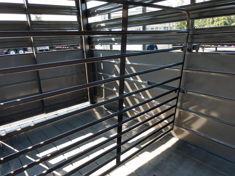 CMS6630-14 C.M. TRAILERS 14' STOCK TRAILER W/1 CUT GATE AND COMBO REAR GATE.  SHOWN WITH OPTIONAL SPARE TIRE