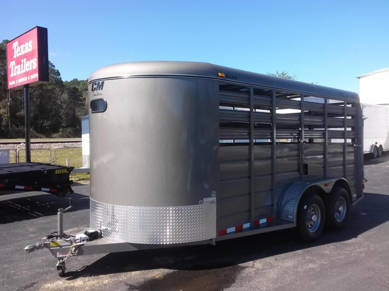 """CMS6640-16 CM 6'8"""" X 16' STOCKER W/ CUT GATE AND COMBO REAR GATE W/ FULL WALK OUT ESCAPE DOOR AND 5200# AXLES"""