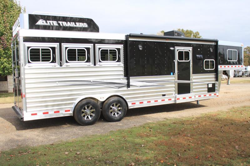 2020 Elite Trailers 3 Horse 10.8 Living Quarter with Generator Horse Trailer