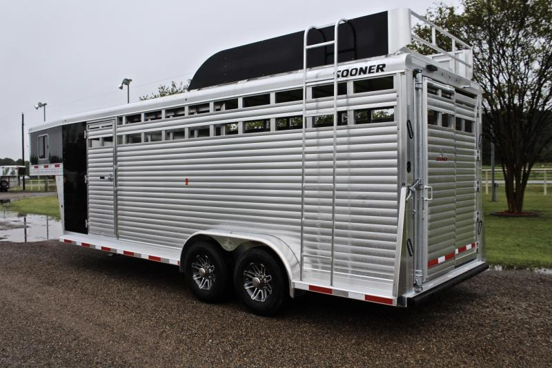 2020 Sooner 22ft Roper Special with Swing Out Saddle Rack Livestock Trailer
