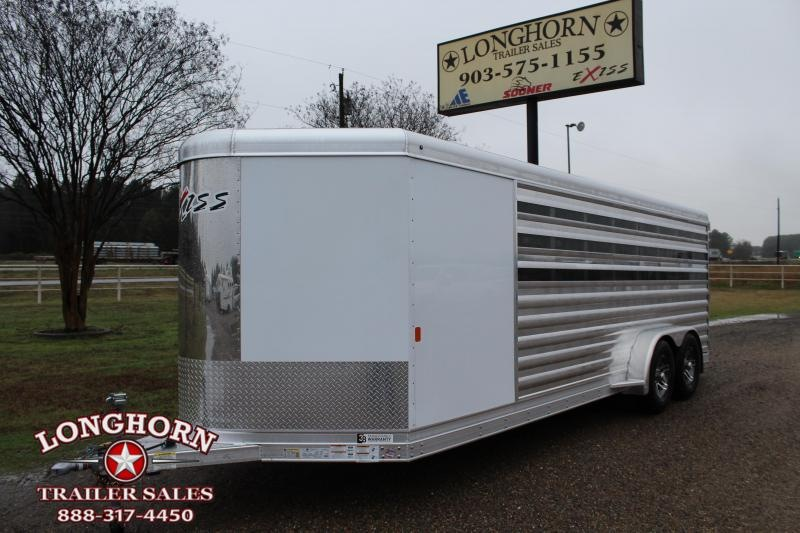 2020 Exiss 8 Pen Low Pro Bumper Pull with Front Tack Room Livestock Trailer