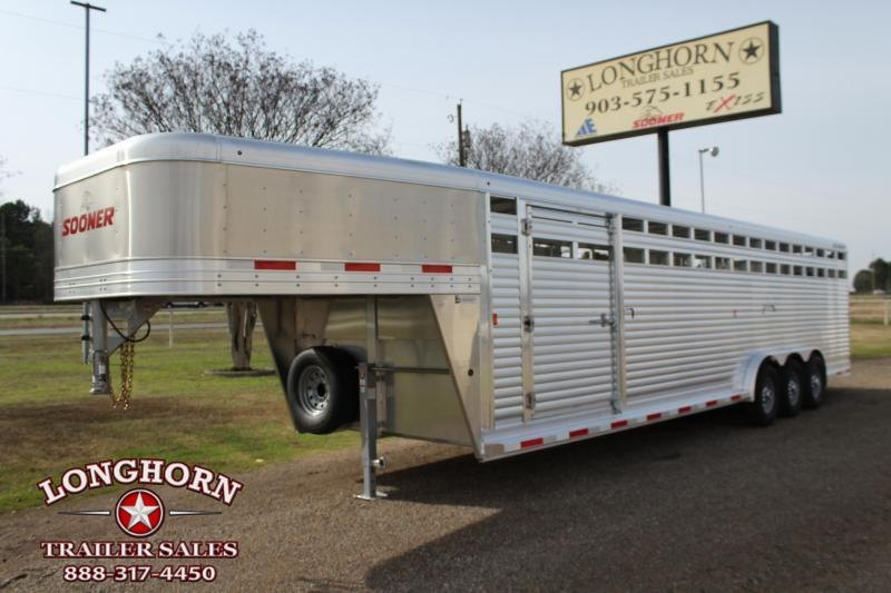 2020 Sooner 30ft x 7.5ft Stock Trailer with Triple Axle Livestock Trailer