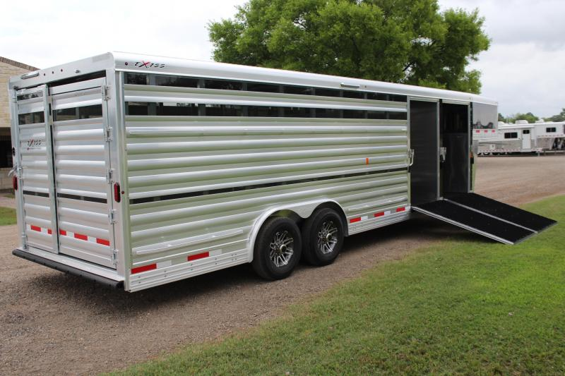 2019 Exiss Trailers 26ft x 8ft Show Cattle with Two Ramps HYD. Jack Livestock Trailer