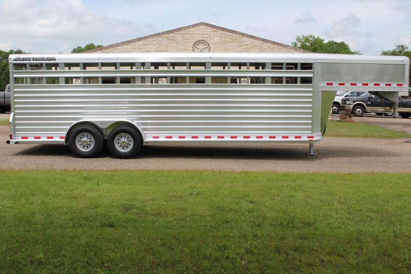 2021 Elite Trailers 24ft Stock Trailer with Two Cut Gates Livestock Trailer
