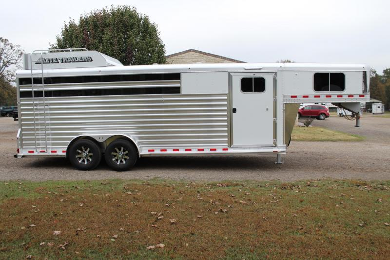 2020 Elite Trailers 22ft Roper Special with Swing Out Saddle Rack Livestock Trailer