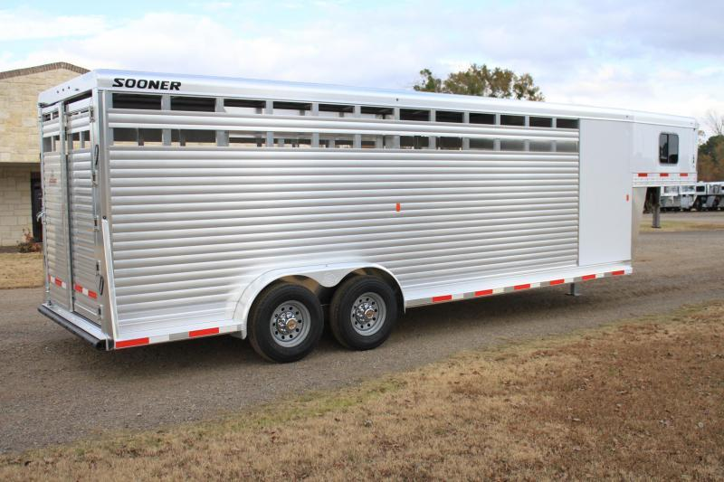 2020 Sooner 24ft Stock Combo with 4ft Tack Room Livestock Trailer