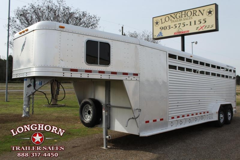 2002 Featherlite 24ft Stock Combo with 4ft Tack Livestock Trailer