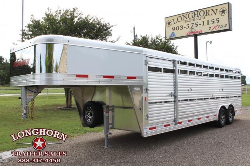 2020 Sooner 24ft x 8ft Show Cattle Stock with Side Ramp Livestock Trailer