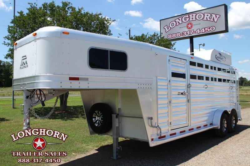 2019 Platinum Coach 4 Horse Stock Combo with Swing Out Saddle Rack Livestock Trailer