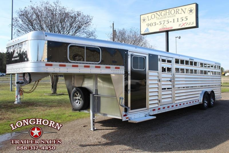 2020 Elite Trailers 28ft x 8ft Show Cattle with Two Side Ramps Livestock Trailer