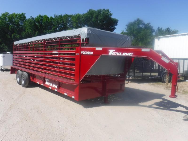 2019 TexLine 6'8'' x 24' Gooseneck Cattle Utility Trailer
