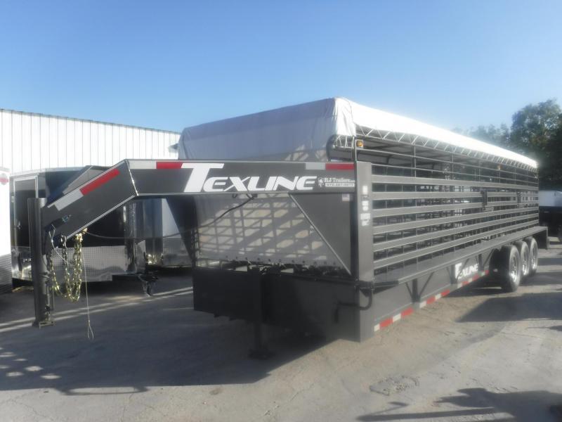 2019 TexLine 6'8'' x 28' Gooseneck Cattle Stock / Stock Combo Trailer