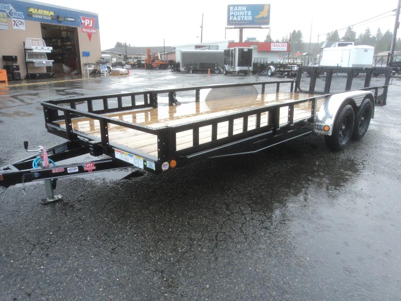 2020 PJ 7X20 7k Utility with Bi-Fold Gate/Side Mount Ramps