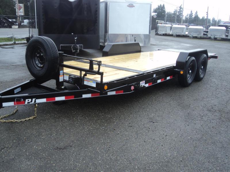 "2020 PJ Trailers 7x20 14K  w/Spare Tire 6"" Channel Equipment Tilt Trailer"