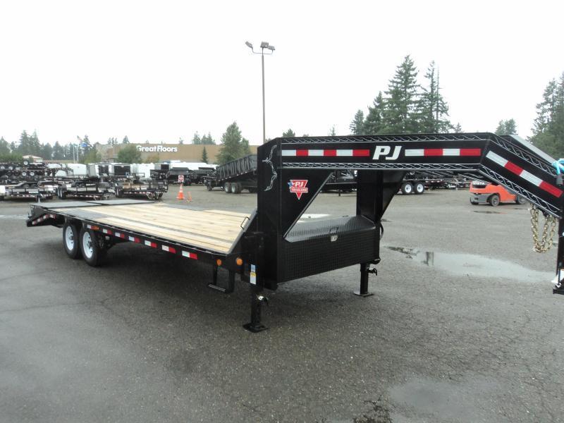 2020 PJ LS 8.5x25 Gooseneck Flatdeck with Monster Ramps