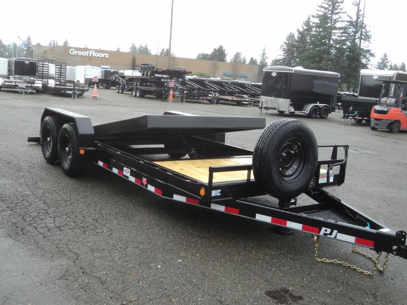 "2020 PJ Trailers 7x20 14K  w/Spare Tire 6"" Channel Equipment Tilt Trailer"
