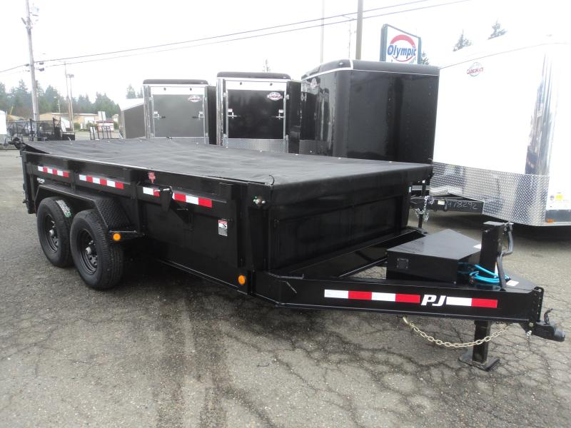 2020 PJ 7x14 14K Low Profile 14k Dump Trailer with 10K Jack