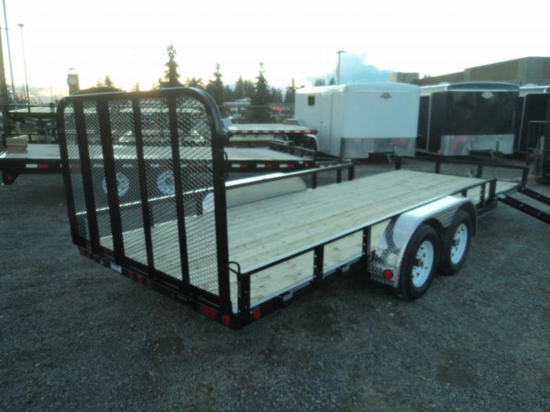 2020 PJ 7X18 7k Utility Trailer w/Side Mount ATV Ramps