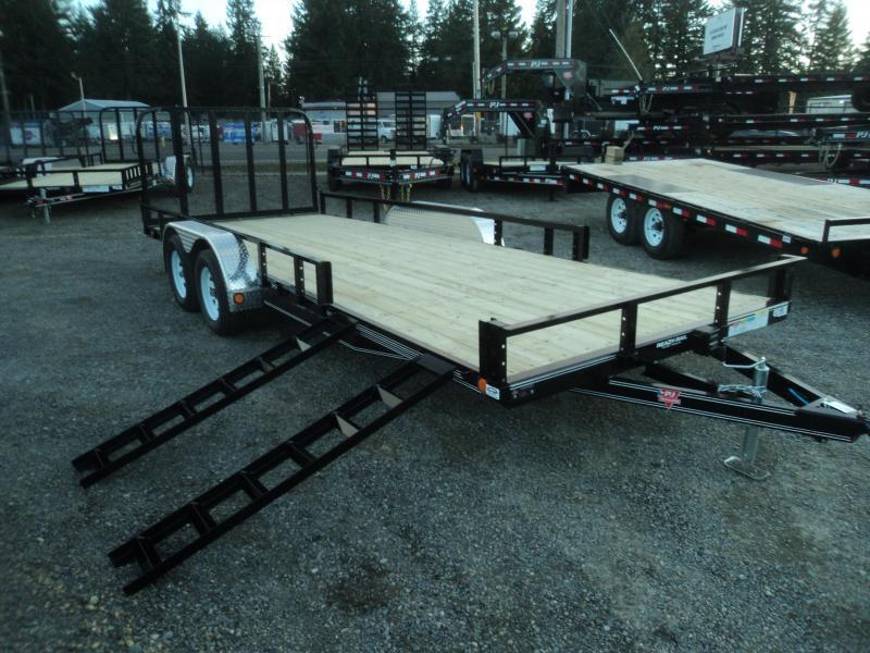 2020 PJ 7X20 7k Utility With Fold Up Gate/Side Mount ATV Ramps