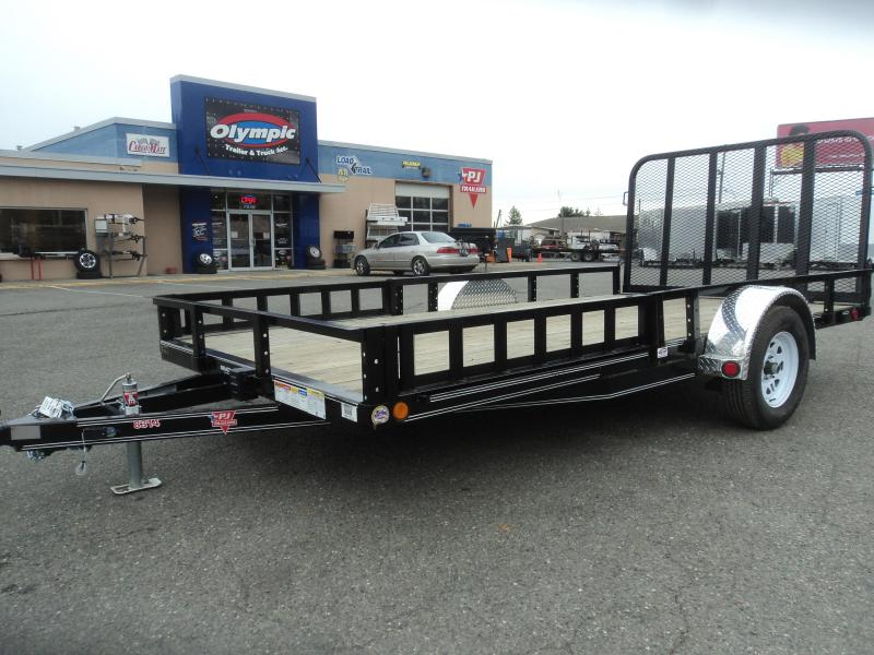 2020 PJ 7X14 Utility w/Heavy Duty Fold-up Gate