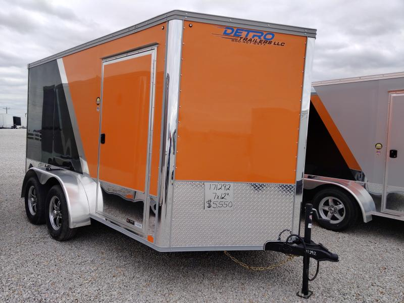 2020 United Trailers Black/Orange 7X12 Motorcycle Trailer