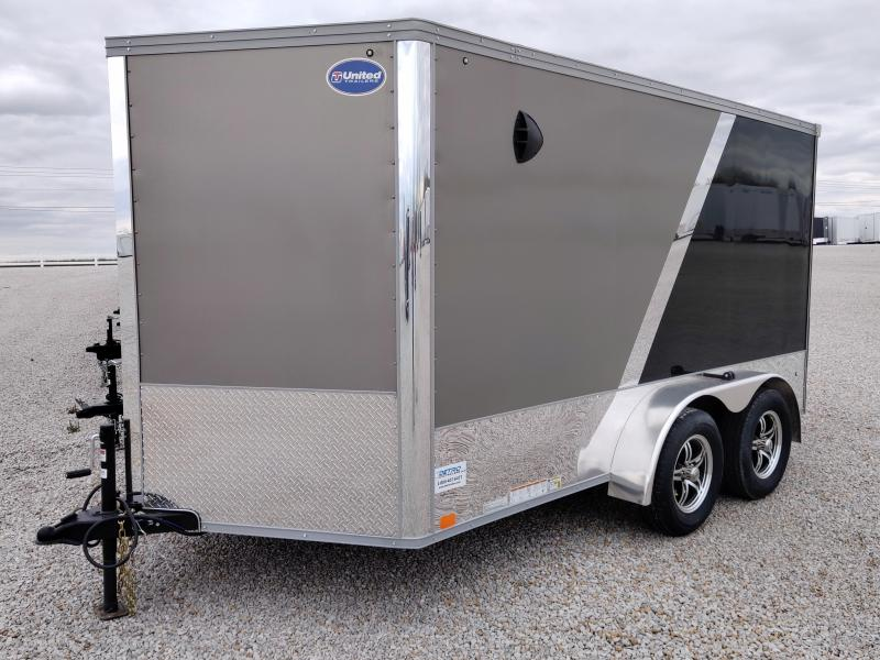 2020 United Trailers Pewter/Black 7X12 Motorcycle Trailer