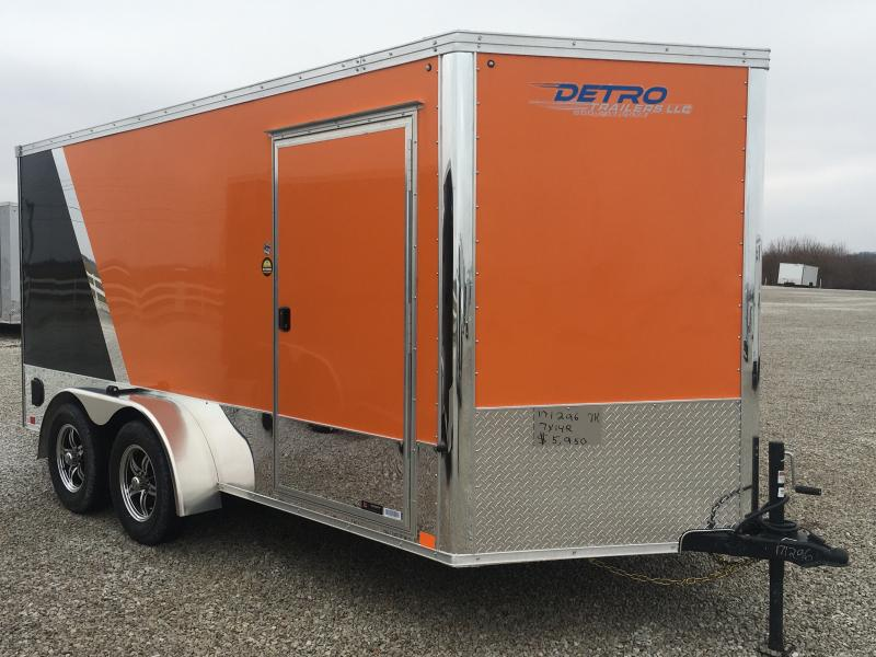 2020 United Trailers 7X14 Orange/Black Motorcycle Trailer