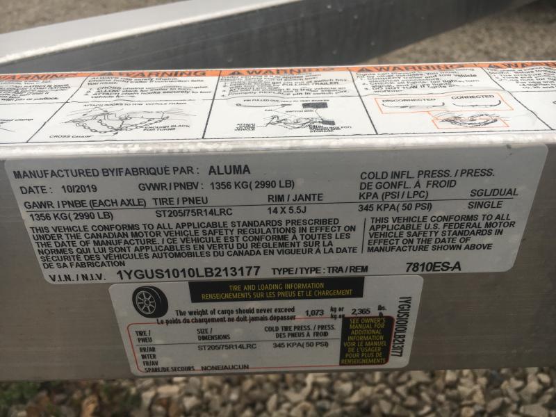 2020 Aluma 78X10 Utility Trailer