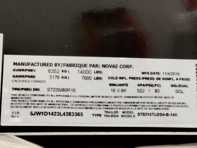 2020 Sure-Trac 82 IN X 14 LP 14K Telescopic 4ft Side Du
