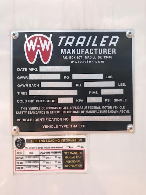 2017 W-W Trailer CC 10X6 (2-3500) Enclosed Cargo Trailer