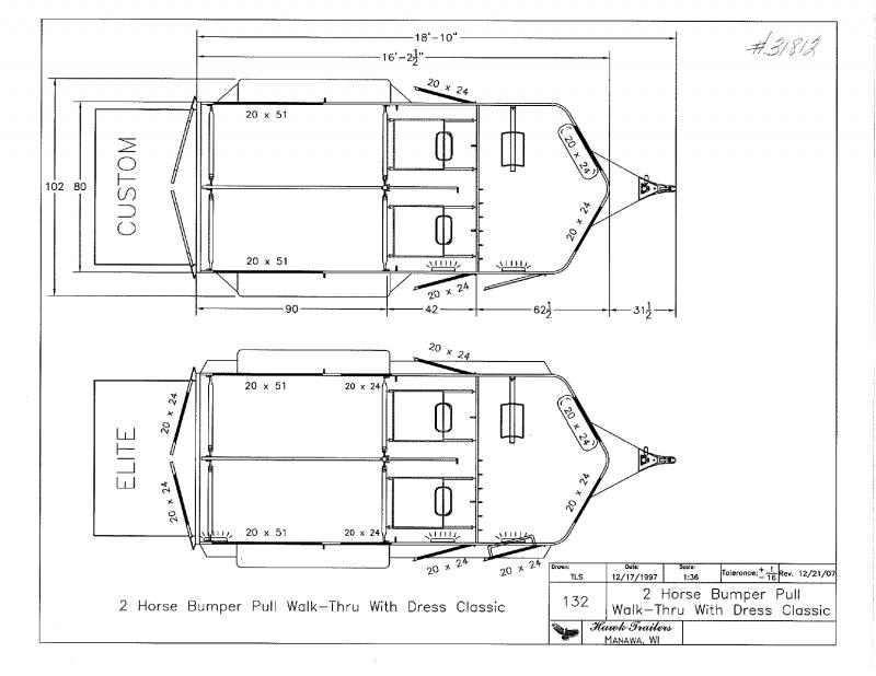 2020 2H HAWK BUMPER PULL STRAIGHT LOAD W/WALK THRU & DRESS HORSE TRAILER