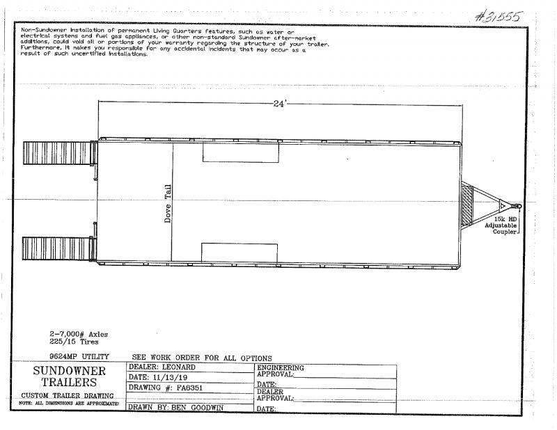 2020 8 X 24 SUNDOWNER BUMPER PULL UTILITY TRAILER