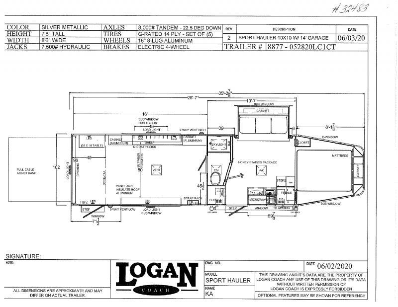 2021 LOAGAN COACH 8.5'X35' GOOSENECK LIVING QUARTERS TOY HAULER WITH 16' GARAGE