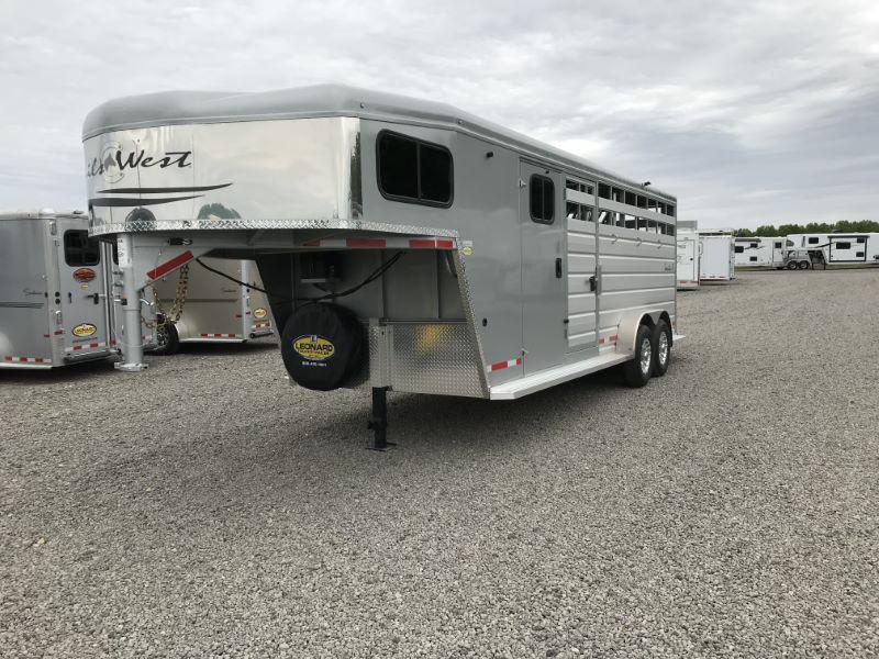 2019 4 HORSE TRAILS WEST GOOSENECK STOCK COMBO TRAILER