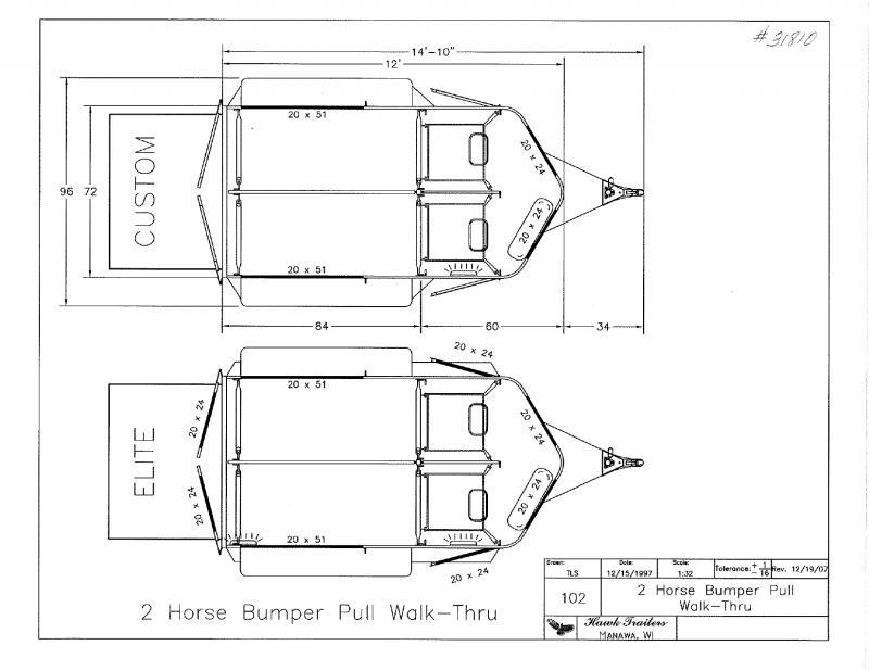2020 HAWK STRAIGHT LOAD W/WALK THRU BUMPER PULL HORSE TRAILER