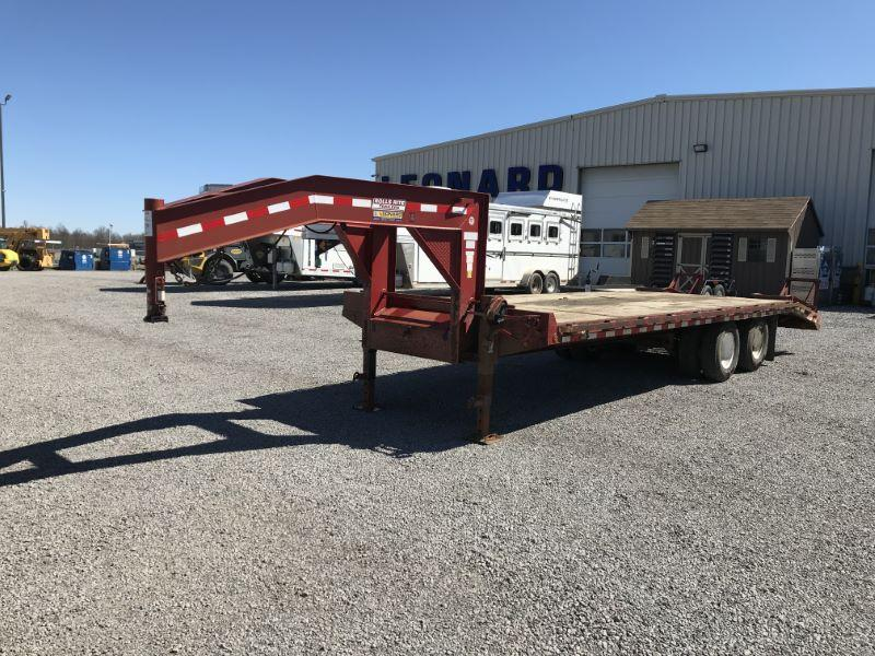2007 25' ROLLS RITE FLAT BED GOOSENECK EQUIPMENT TRAILER