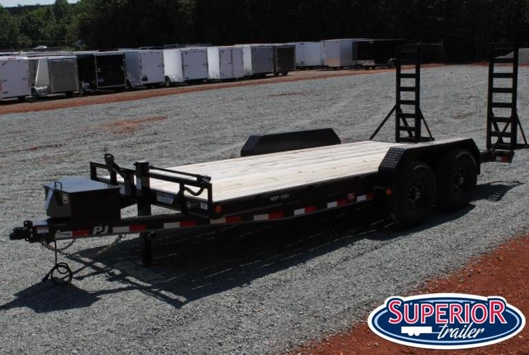 2020 PJ Trailers 18' CC 14K  w/ Tongue Box and Fold Up Ramps