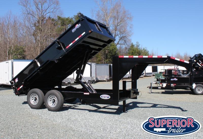 2020 Hawke 7x14 14K Gooseneck Dump w/ Spreader Gate Ramps and Tarp
