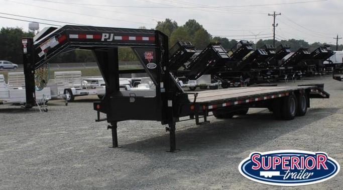 2020 PJ Trailers 30' Low Pro 25K Gooseneck w/ Flip Over Ramps