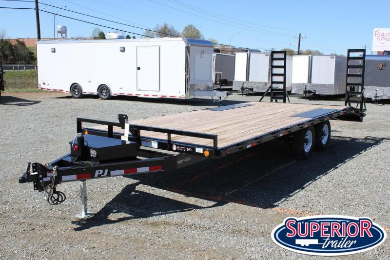 2020 PJ Trailers 22 L6 10K Deckover w/ Tongue Box and Fold Up Ramps
