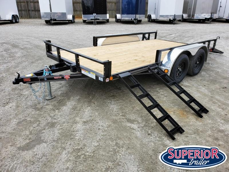 2020 PJ Trailers 14ft UL 7K Utility Trailer w/ Fold Up Gate & ATV Ramps