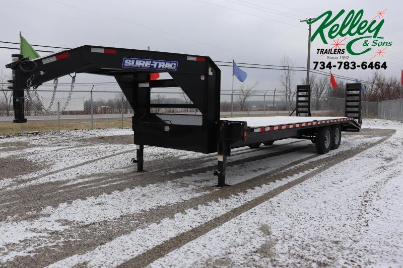 2020 Sure-Trac 8.5x20+4 15K Standard Duty Beavertail GN Deckover Flatbed Trailer