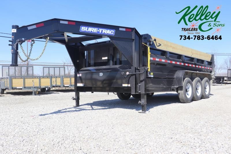 2020 Sure-Trac 82INx16 21K Low Pro Telescopic Gooseneck Dump Trailer
