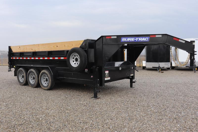 2020 Sure-Trac 82INx16 21K USED Low Pro Telescopic Gooseneck Dump Trailer