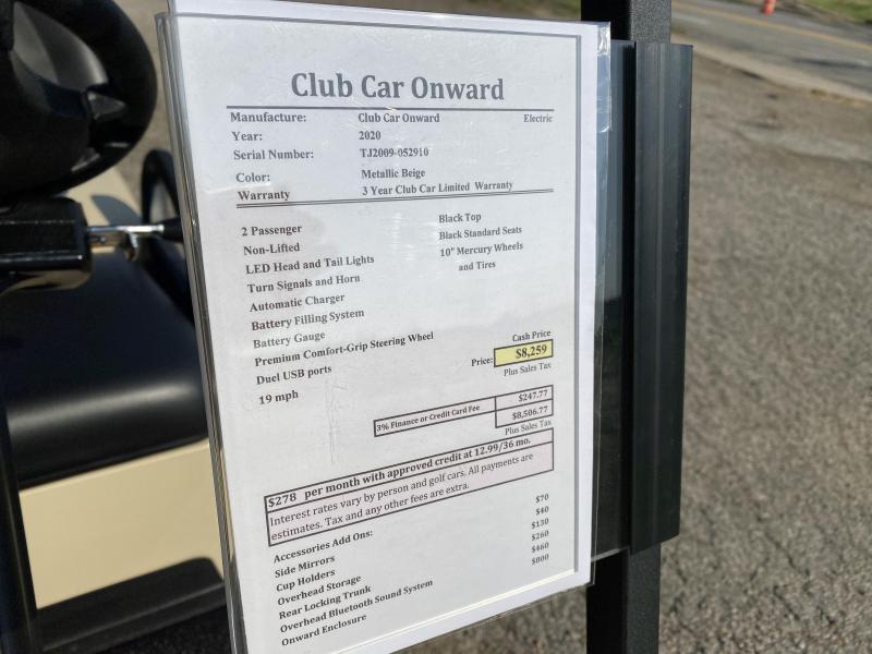 2020 Club Car Onward 2 Passenger ELECTRIC Golf Cart